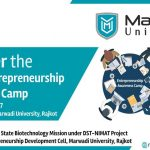Marwadi University is organising 3 days Entrepreneurship Awareness Camp from 20th to 22nd September 2017.
