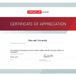 Certificate of Appreciation received from Oracle Academy for Successfully Integrating Oracle Academy Syllabus with University Syllabus for Computer/IT students