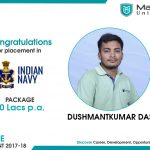 Mr. Dushmantkumar Das got placed at Indian Navy at the package of 10 LPA.