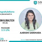 AARUSHI RAHULBHAI SARDHARA got placed at ADSOM Globaltech Pvt. Ltd. at the package of 3.5 to 4 LPA.