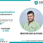 BHAVIN HARESH SAVAJIYANI got placed at Searce at the package of 3 to 3.5 LPA.