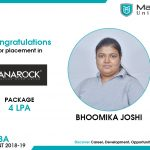 BHOOMIKA JOSHI got placed at Anarock at the package of 4 LPA.