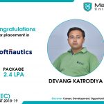 DEVANG VINODKUMAR KATRODIYA got placed at Softnautics at the package of 2.4 to 3 LPA.