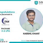 HARSHIL MAHESHBHAI KHANT got placed at TCS at the package of 3.36 LPA.