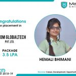 HEMALI ROHITBHAI BHIMANI got placed at ADSOM Globaltech Pvt. Ltd. at the package of 3.5 to 4 LPA.