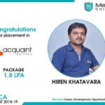 HIREN KIRITBHAI KHATAVARA got placed at Acquaint Soft Tech Pvt. Ltd. at the package of 1.8 LPA.