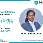 PAYAL VIJAY BHARAKHDA got placed at Spec India at the package of 3.17 LPA.