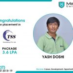 YASH RAJESHBHAI DOSHI got placed at TSS Consultancy at the package of 3.6 LPA.